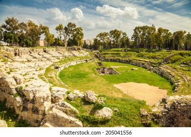 the ancient Roman amphitheatre of Syracuse in Sicily, Italy