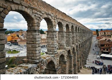 Ancient Roman aqueduct closeup view in Segovia
