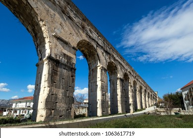 Ancient Roman Aqueduct, near Town Split in Croatia constructed during the Roman Empire to supply water of river Jadro to the Palace of Emperor Diocletian