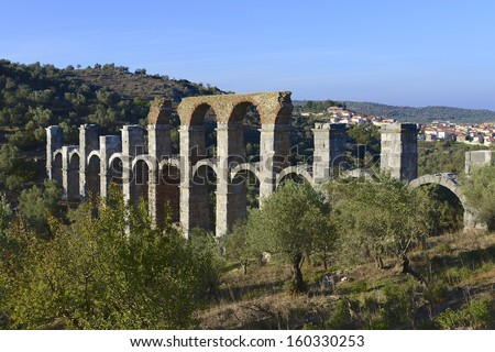 Ancient Roman aqueduct on Lesvos, Greece, close to the village of Moira. It was built to carry water to Mytilene the island's capital. Mytilene, Lesvos, North-Eastern Aegean Islands, Greece, Europe.