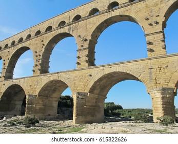 Ancient Roman Aqueduct at Pont du Gard, France