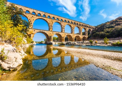 Ancient Roman aqueduct in Southern France.