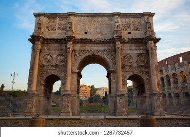 Ancient Roman architectural ruins- Arch of Constantine in Rome, Italy.