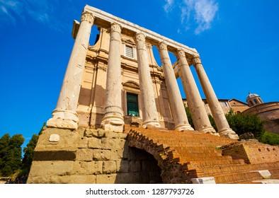 Ancient Roman architectural ruins- Roman Forum in Rome, Italy.