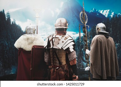 ancient roman army soldiers before battle