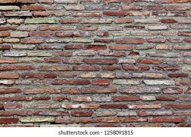An ancient roman brick wall