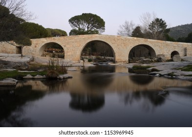 Ancient roman bridge over the river in spain