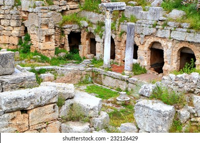 Ancient Roman buildings on the site of Corinth, Greece