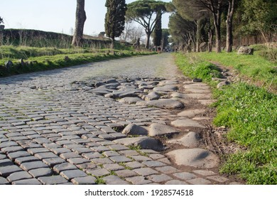 """Ancient roman cobble street,The first important main road was the famous """"Appian Way"""" known as the The """"Queen of all roads"""" was cut in 312 BC."""