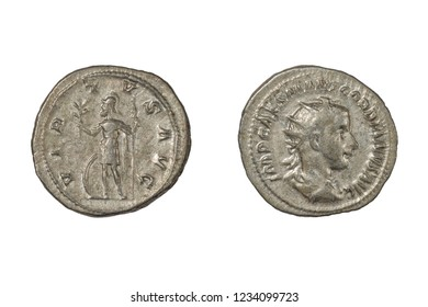 "Ancient Roman Coin. Silver Denarius of Gordian III (238-244 AD). Obverse Shows Emperor, Reverse Shows ""Virtus"" (Virtue) Holding Spear and Olive Branch. Isolated on White"