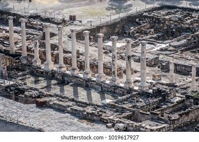 The Ancient Roman Colonnade in Beit She'an (Israel)
