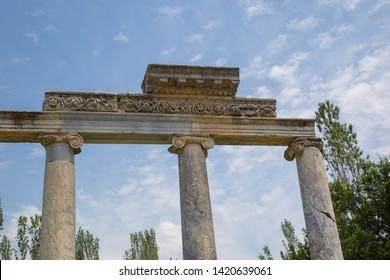 Ancient roman columns with engravings at Aizonai, Turkey.