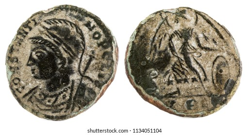 Ancient Roman copper coin of Constantinopolis.
