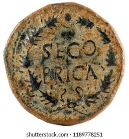 Ancient Roman copper coin. As of Emperor Caligula. Coined in Segobriga. Reverse.