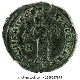 Ancient Roman copper coin of Emperor Severus II. Reverse.