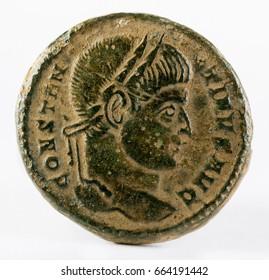Ancient Roman copper coin of Emperor Constantinus I Magnus. Obverse.