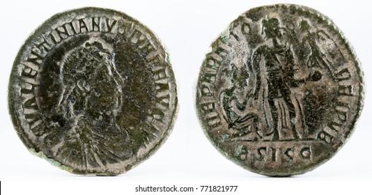 Ancient Roman copper coin of Emperor Valentinian II.