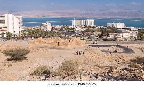 an ancient roman fort sits on the mountainside above the resort hotel on the dead sea in ein boqeq in israel