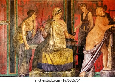 Ancient Roman fresco in Pompeii showing a detail of the mystery cult of Dionysus