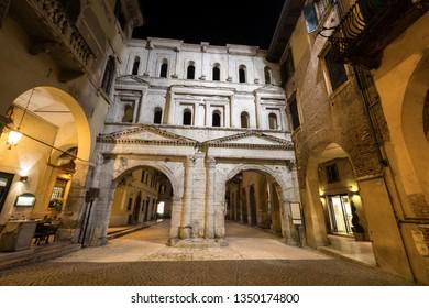Ancient Roman gate, Porta Borsari, 1st century A.D. Verona, UNESCO world heritage site, Veneto, Italy, Europe