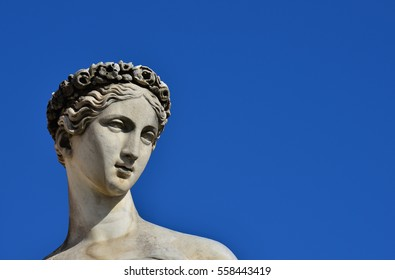 Ancient Roman of Greek goddess marble statue (with copy space)