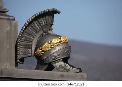 Ancient Roman helmet. Memorial to Russian soldiers fallen in the Battle of Kulm (1813) in North Bohemia, Czech Republic.