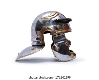 Ancient Roman military helmet on white background. Clipping path is included