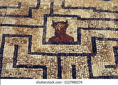 Ancient Roman mosaic detail showing Minotaur in labyrinth