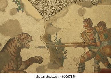 Ancient Roman Mosaic in Mosaic Museum,istanbul,Turkey.