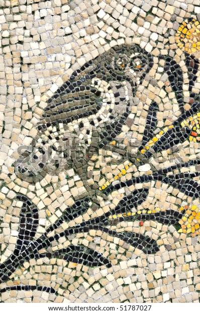 Ancient Roman Mosaic Owl Symbol Wisdom Stock Photo (Edit Now