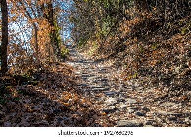 "Ancient roman ""Ochsentodweg"" (Path of the dead of the oxes) in the village of Tirol, near Merano, Sout Tyrol, Italy - Shutterstock ID 1927680296"