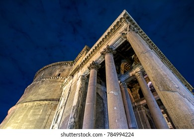 Ancient Roman Pantheon at night in Rome, Italy. Low angle view