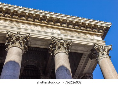 Ancient Roman Pantheon temple, detail - Rome, Italy