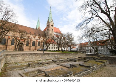 Ancient Roman Ruins in Augsburger Dom (Augsburg Cathedral), Augsburg on Romantische Strasse (Romantic Road), Germany
