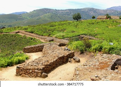Ancient Roman ruins in el Raso, an archaeological site near Castilian village Candelada in Sierra de Gredos National Park, Spain. In Castilla y Leon, province Avila