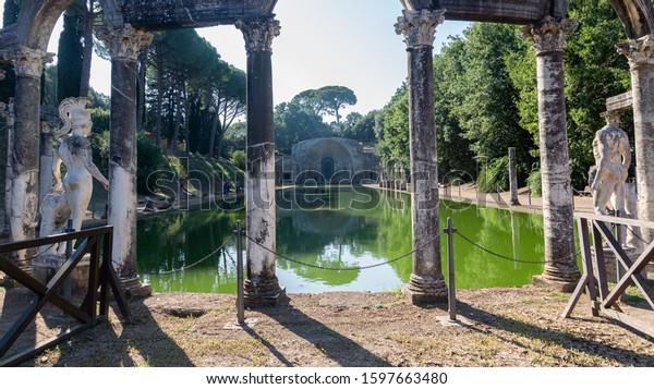 Ancient Roman ruins in Villa Adriana, Tivoli, Italy