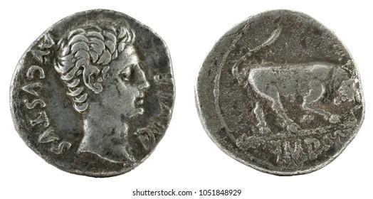Ancient Roman silver denarius coin of Emperor Augustus.