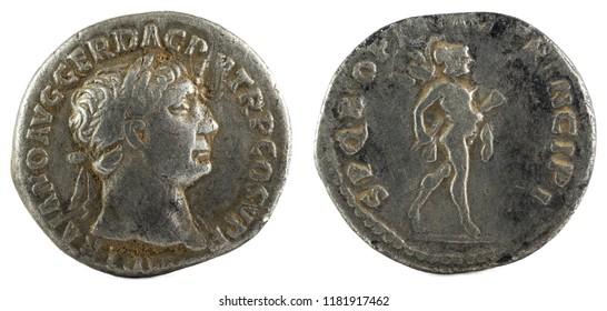 Ancient Roman silver denarius coin of Emperor Trajan.