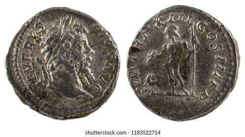 Ancient Roman silver denarius coin of Emperor Septimius Severus.