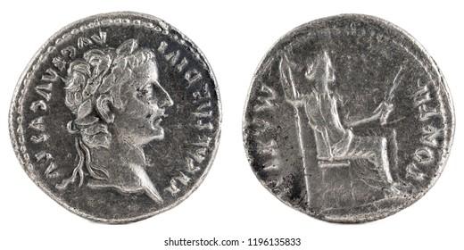 Ancient Roman silver denarius coin of Emperor Tiberius.