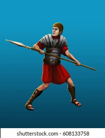 Ancient Roman spearman in armor reflects the attack