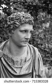 Ancient Roman statue in Garden setting