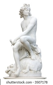 Ancient Roman Statue isolated over white background