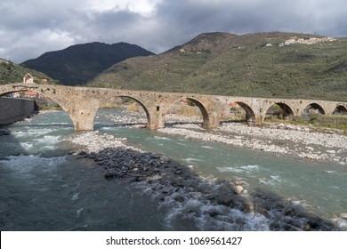 The ancient roman stone bridge, Taggia municipality, Province of Imperia, Italy