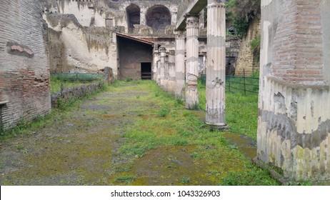 Ancient roman street in Pompeii (Italy)