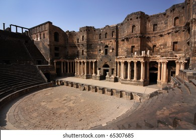 The ancient Roman teathre in Bosra, Syria, Middle East