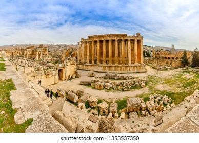Ancient Roman temple of Bacchus panorama with surrounding ruins of ancient city, Bekaa Valley, Baalbek, Lebanon