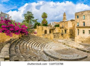 Ancient Roman theater in Lecce, Puglia region, southern Italy