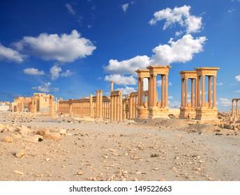 Ancient Roman time town in Palmyra, Syria