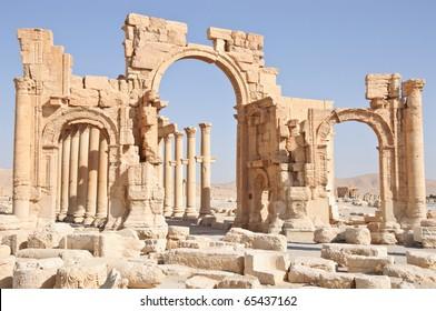 Ancient Roman time town in Palmyra (Tadmor), Syria. Greco-Roman & Persian Period